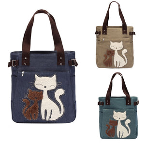Lovely Cat Canvas Handbag for Girls Large Capacity Casual Bag