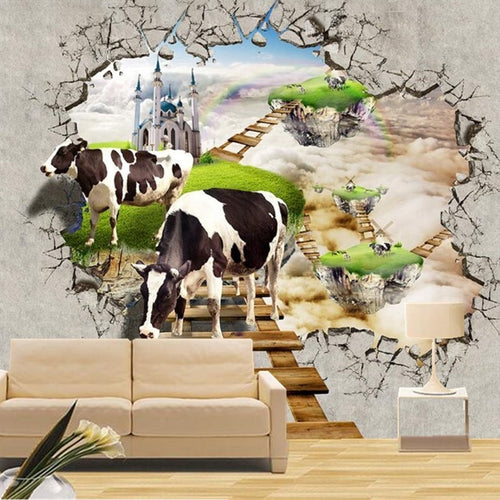 Custom Photo Wall Paper 3D Decorations Background Wallpaper Cows (Pls choose the size before ordering)