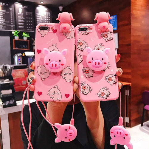 Cute Pink Pig Cartoon Phone Case Toys Stand Holder Lanyard Back Cover