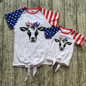 1daa3c91 Baby spring summer red white cow head bull mommy me shirts top