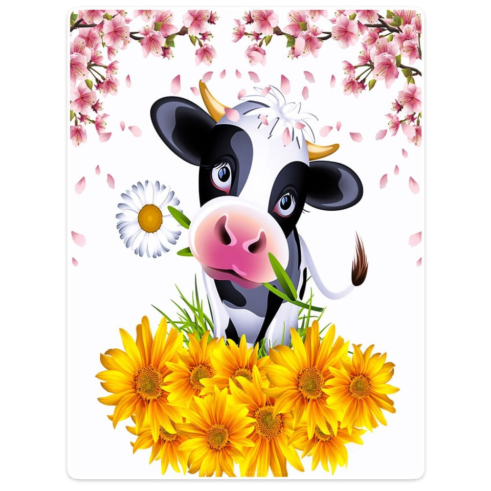 Blanket Colorful Throw Comfort Warm Soft Plush Throw Cow Holding Flowers