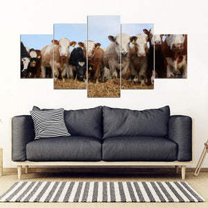 Art Wall Canvas Paintings Decor Home Farmer Cow Herd Modern Prints Artwork