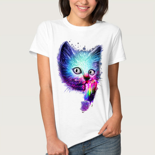 Galaxy Cat Print T Shirt Women Short Sleeve
