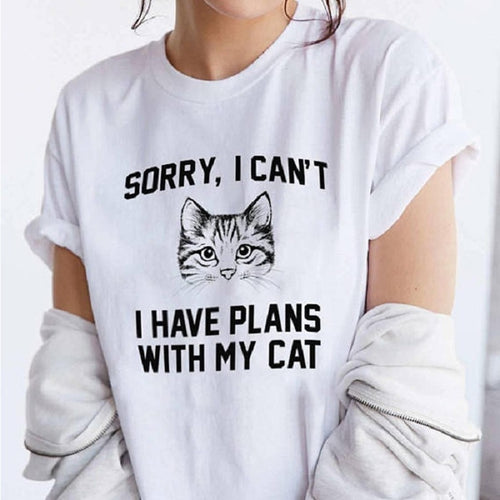 Sorry, i can't i have plans with my cat - Summer Women funny Tee Shirt