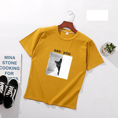 SEE YOU Funny Women T shirts Spring Summer Short Sleeve for cat lovers