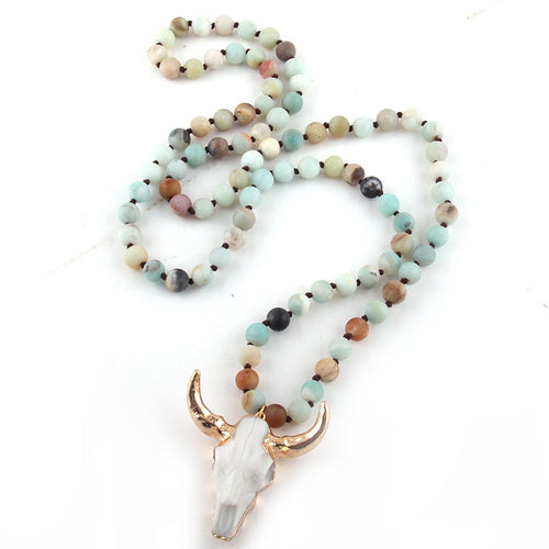Fashion Bohemian Jewelry Amazonite Stone Knotted Horn Pendant Necklace For Women Beaded Necklace