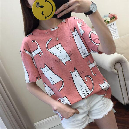 Cute Cartoon Cat Print T shirt Women Spring Summer Short Sleeve Casual Slim Fit