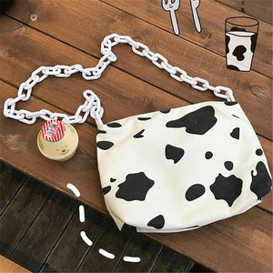 Milk Cow Print Acrylic chain Shoulder Bags