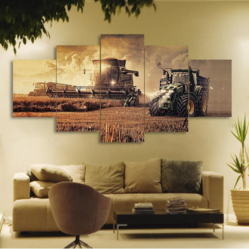 5 Pcs of Farm Tractor Wall Art - Canvas Painting