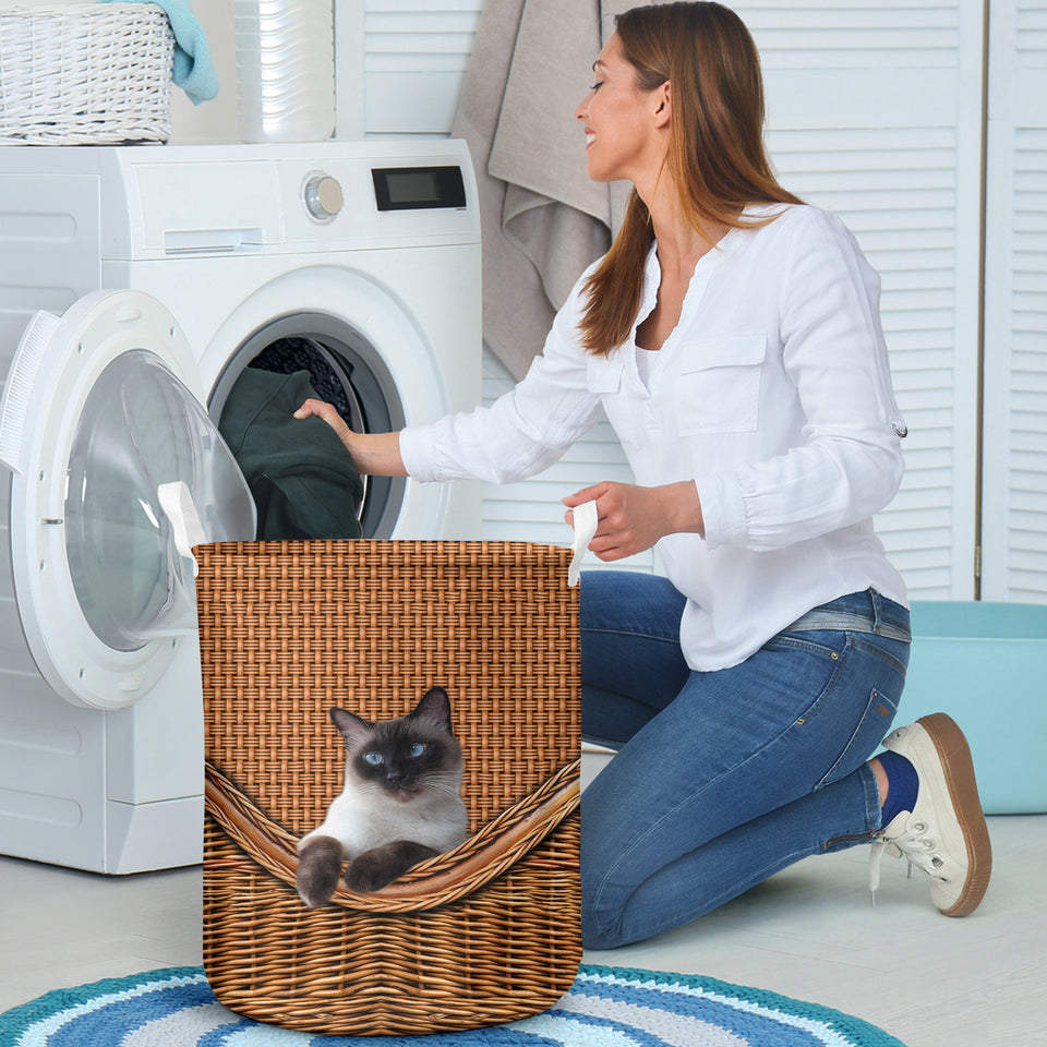 Siamese Cat Laundry Basket Funny Comfort Carry Women 3D Kitchen & Home All Over Print