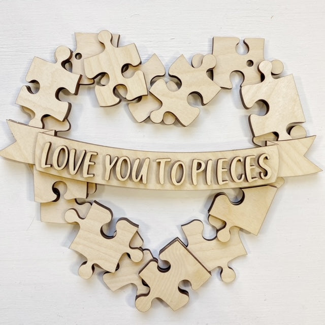 Love You to Pieces Puzzle Heart Hanger