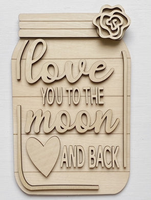 Love You To The Moon and Back Mason Jar Cutout Doorhanger