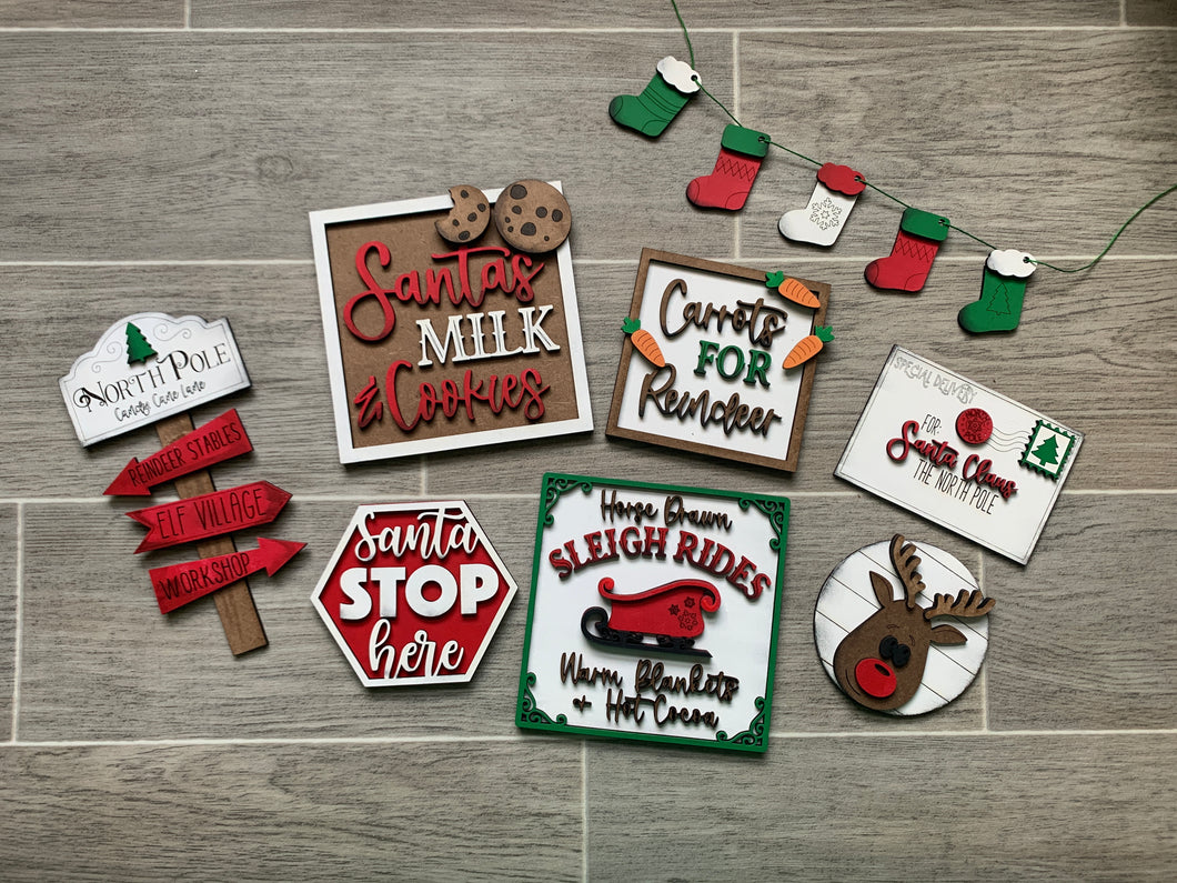 Santa Christmas Milk & Cookies Tiered Tray Set