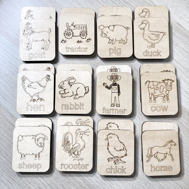Farm Animal Theme - Memory Game - Wood Matching Game - Make a Match Educational Game - Wood Puzzle - Montessori - Open Ended Play - Learning