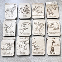 Zoo Animal Themed - Memory Game - Wood Matching Game - Make a Match Educational Game - Wood Puzzle - Montessori - Open Ended Play - Learning
