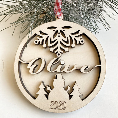 Custom Name Wood Laser Cut Christmas Ornament Personalized