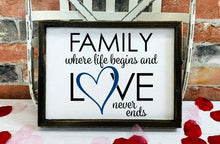 Family Where Life Begins and Love Never Ends - Sawdust & Swirls