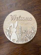 "15"" Round Spring Bunny Welcome Sign"
