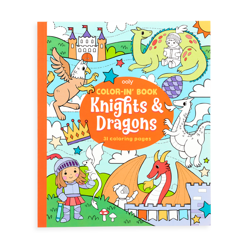 Color-In Book Knights and Dragons