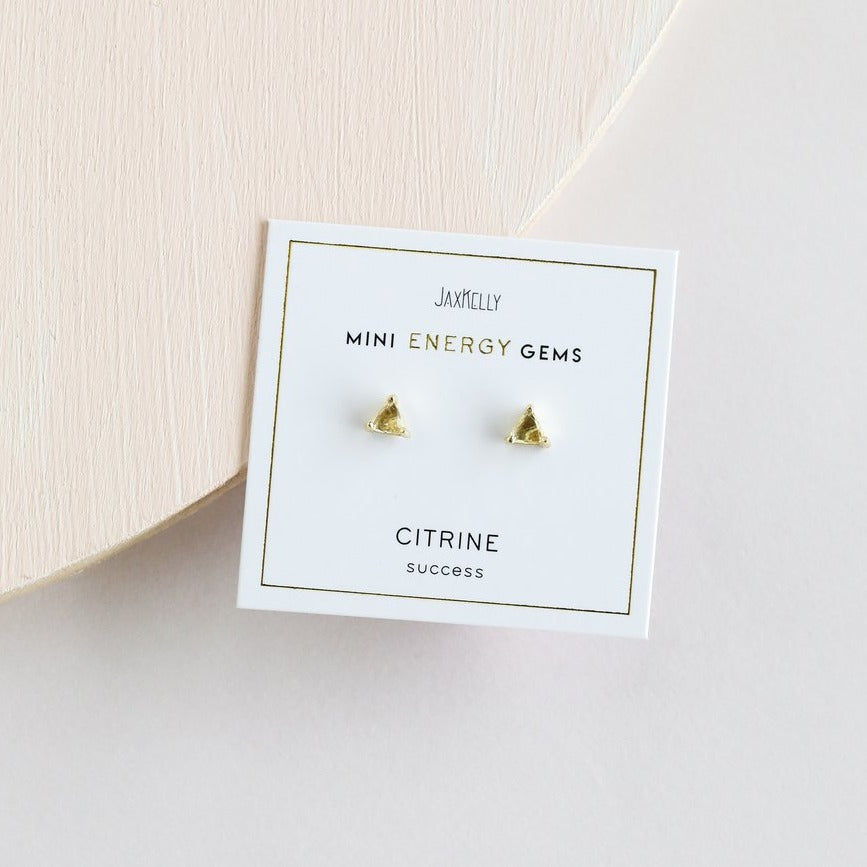 Citrine Mini Energy Gems Studs