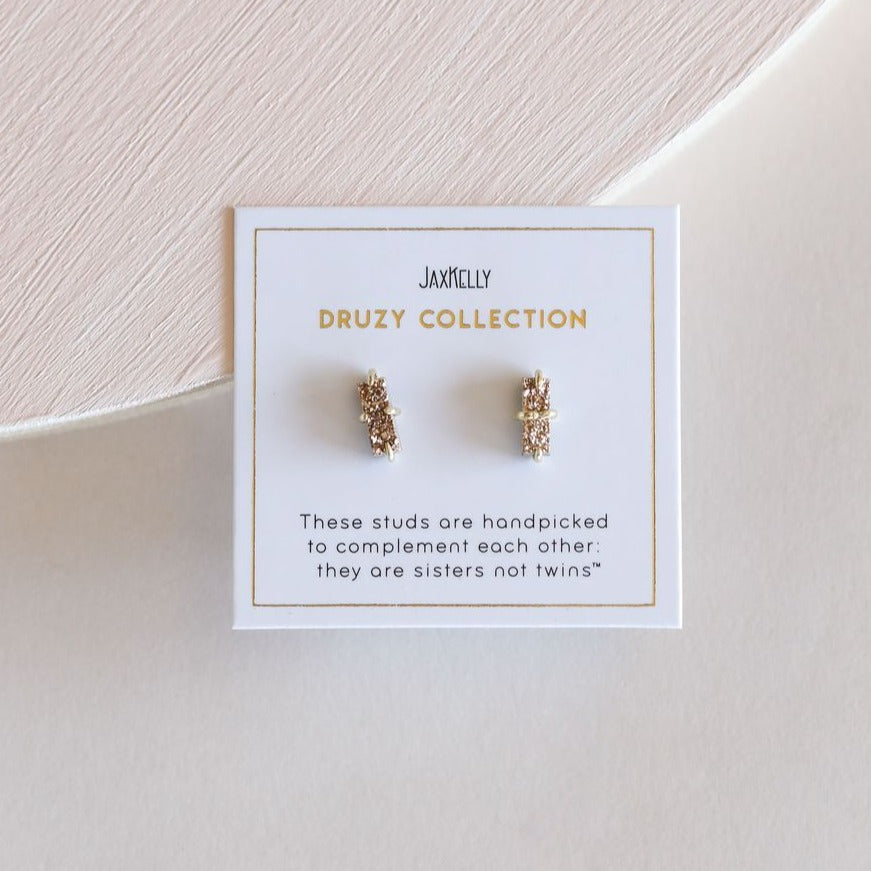 Rose Gold Duzy Bar Earrings