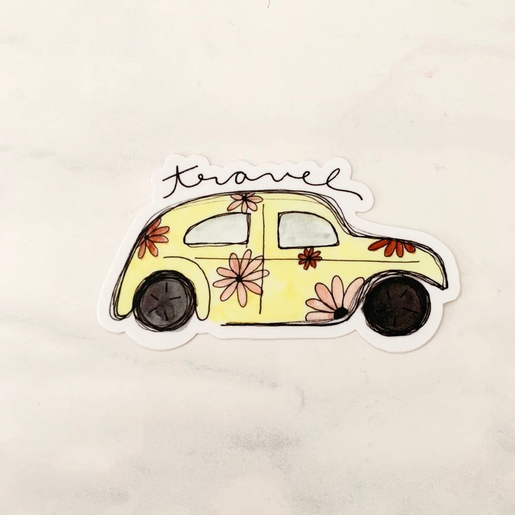 Travel Yellow Bug Sticker