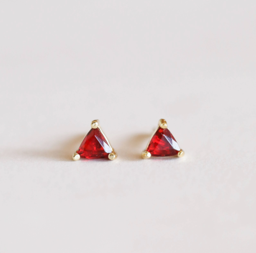 Garnet Mini Energy Gem Studs