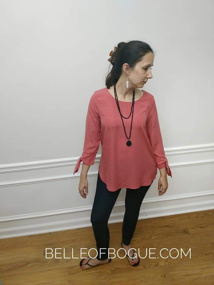 The Lindsey Top {Coral Swiss Dot Top}