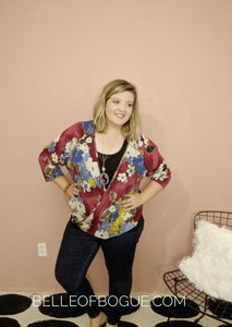 Not Your Everyday Girl {burgundy floral print top-curvy}