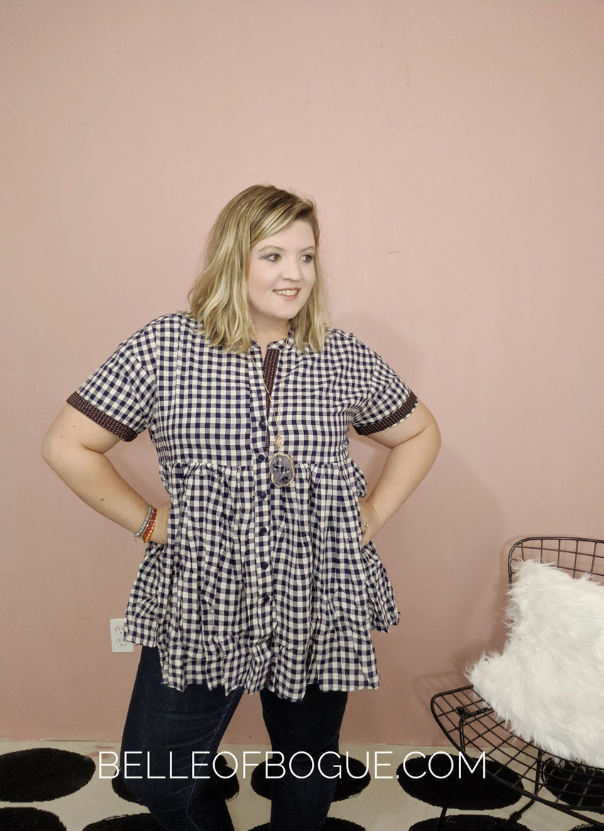 Allyson Tunic {short sleeve, gingham plaid top}