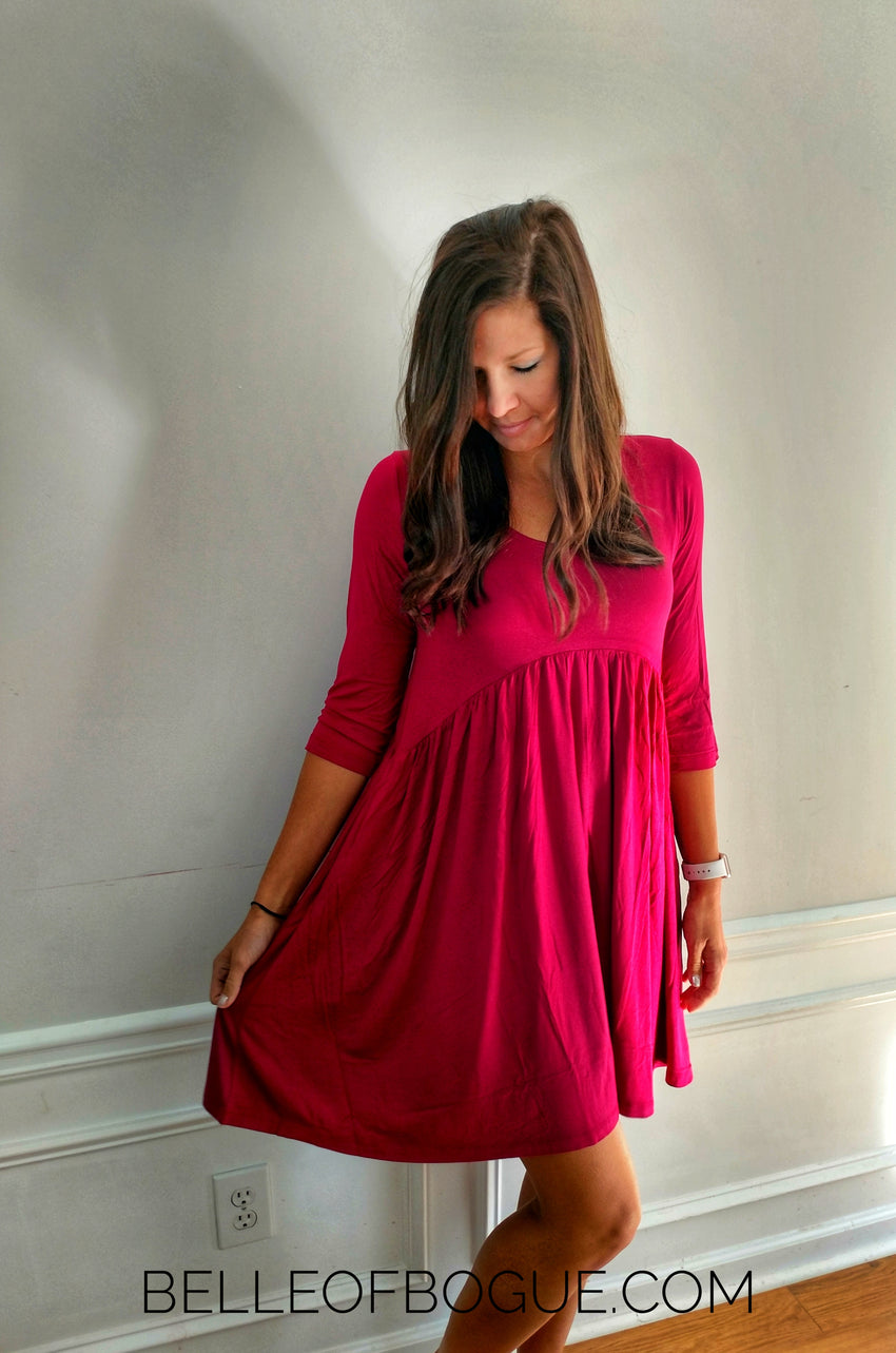 Everyday Empire Dress in Burgundy