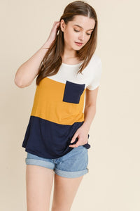 Lauren {Navy and Gold Color Block Pocket Top}