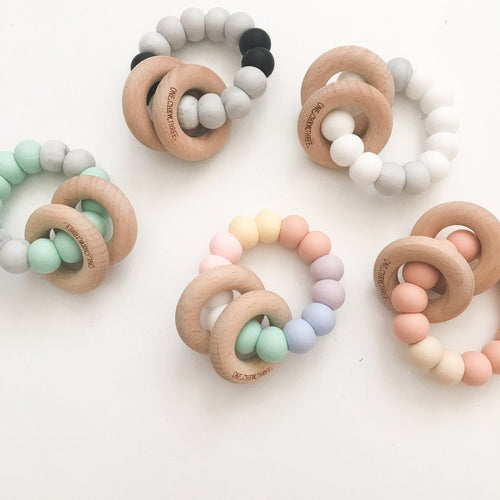 One.Chew.Three Rattle Silicone and Wood Teether