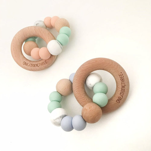 One.Chew.Three Single Rattle Silicone and Beech Wood Teether