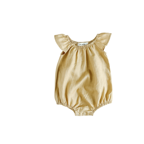 Two Darlings Golden Linen Flutter Sleeve Romper