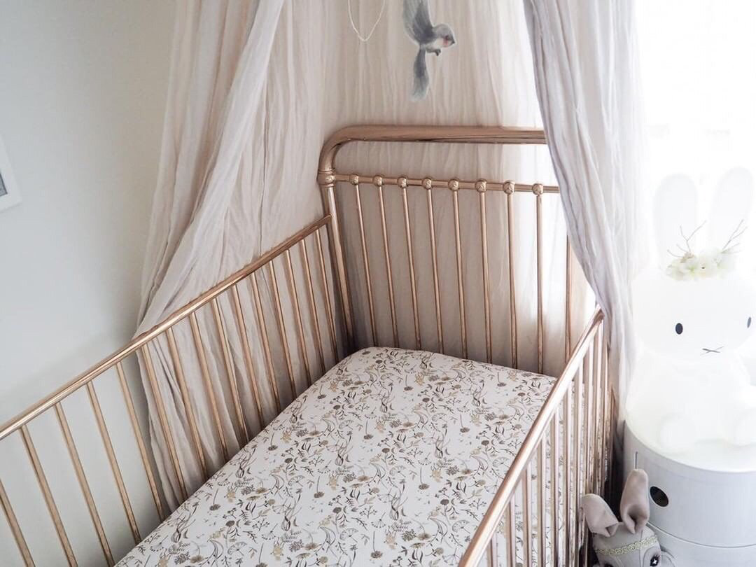Lunas Treasures Bamboo Jersey Cot Sheet Wild Meadows (Neutral Petals)