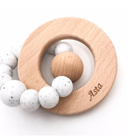 One.Chew.Three Solar Silicone and Beech wood Teether