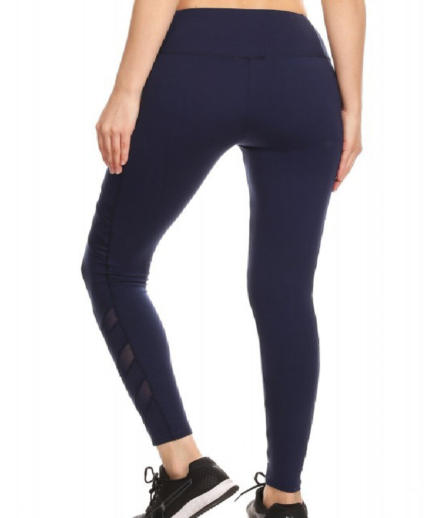 Sport Leggings With Side Pockets - Navy