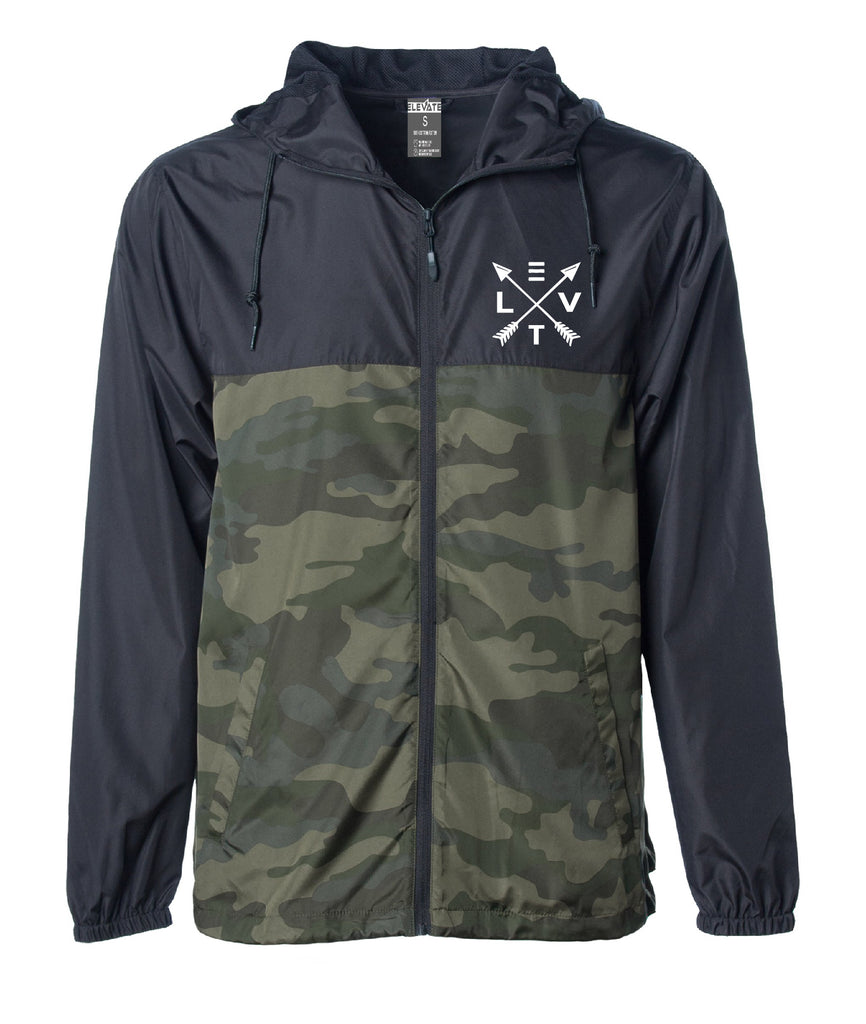 Windbreaker Zip Jacket - Black/ Forest Camo