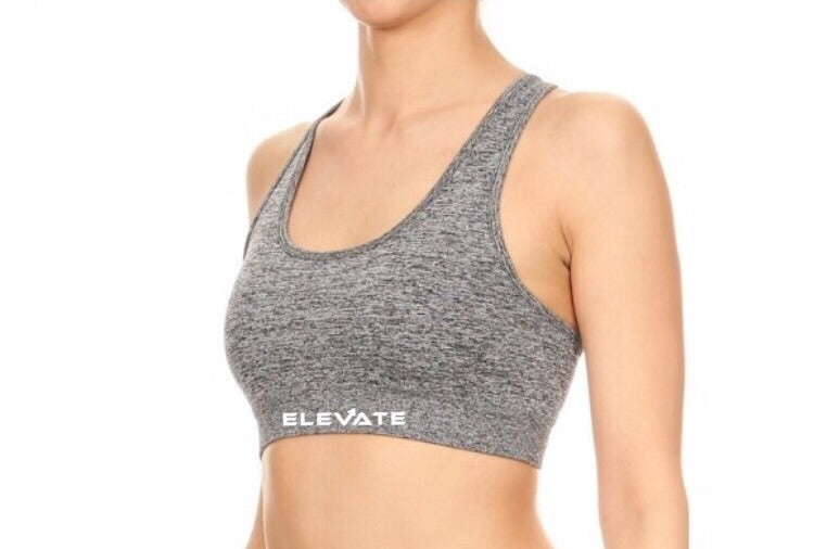 Womens Double Wide Straps Activewear Sports Bra/ Grey
