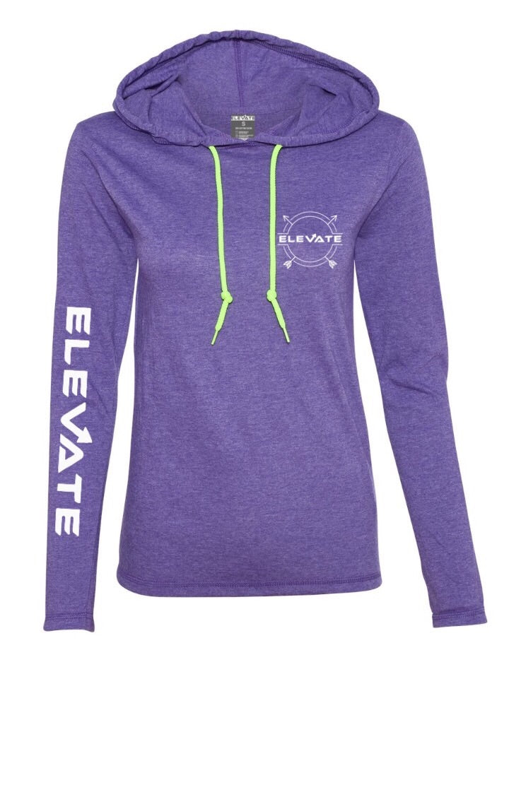 Womens Lightweight Long Sleeve - Heather Purple/ Neon Yellow