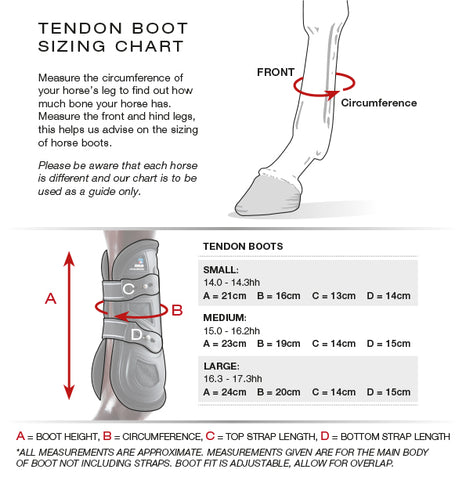 PEI Kevlar Tendon Boot Size Guide