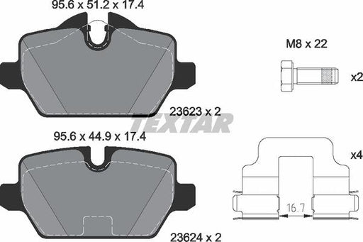 BMW Brake Pads Rear E81 E87 E90 - TEXTAR 34216767146