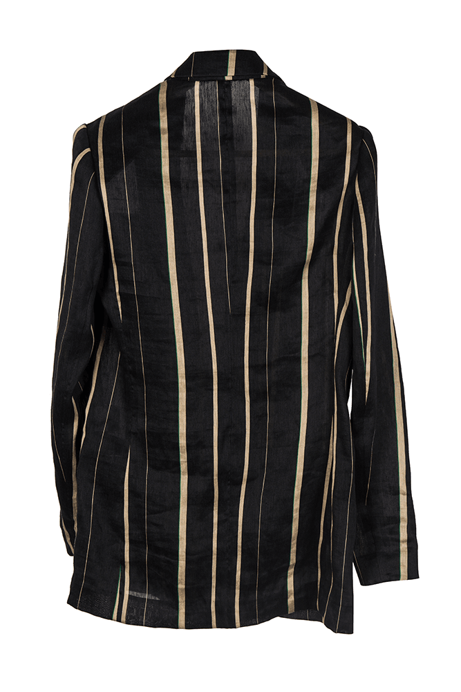 Striped Linen Blazer-Black