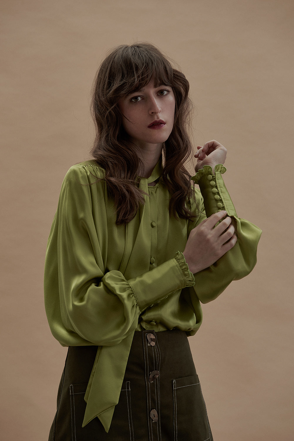 Laura Silk Blouse-Avocado