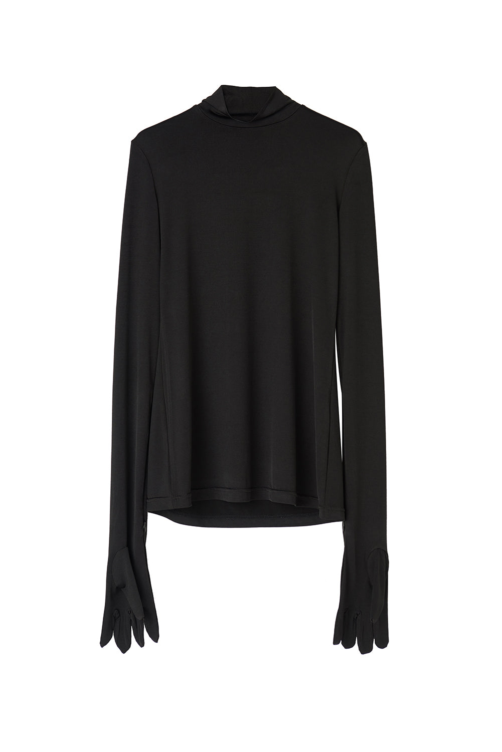 Turtleneck Top With Gloves-Black