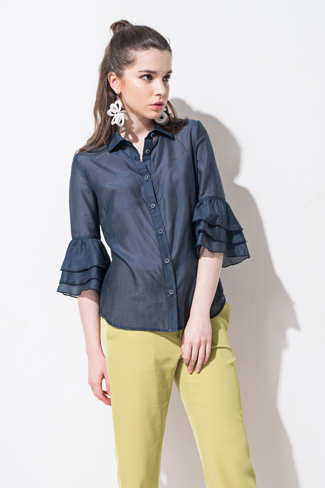 Blue Ruffle Sleeve Shirt - front row shop