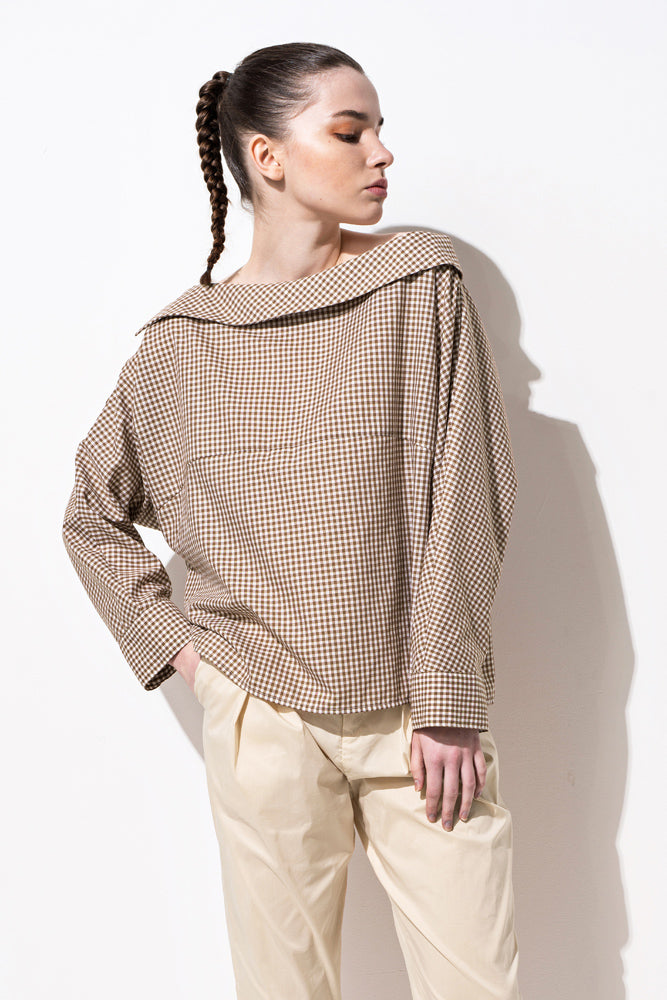 Brown Gingham Boat Neck Blouse - front row shop