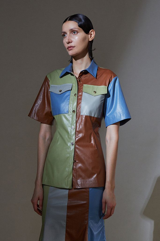 Multicolor Faux Leather Shirt