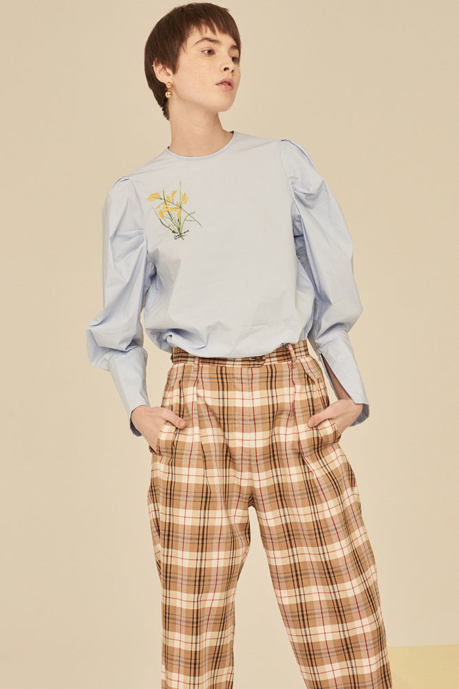 Embroidered Puff Sleeves Top - Blue - front row shop